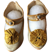 Early Bebe Jumeau Gold Satin  Shoes with Gilt Lettering 7