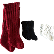 Three Pair of Heavy Knitted Doll Stockings