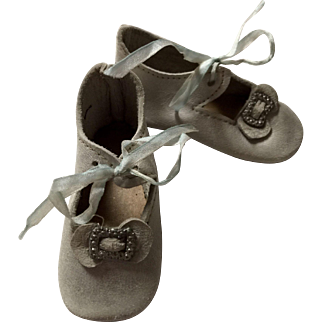 Soft Blue Leather Doll Shoes