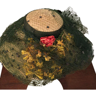 Vintage Yellow Straw Hat for French/German Doll