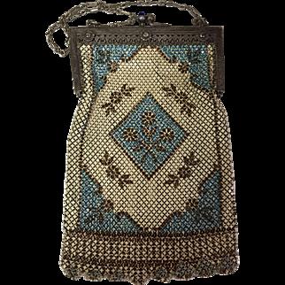Beautiful Mandalian Enamel Silk Lined Mesh Purse