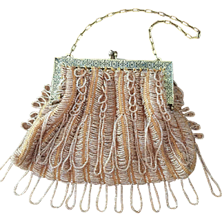 Vintage Gold Beaded Purse with Fringe