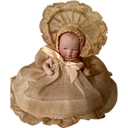 """4"""" All Bisque Bye Lo German Baby Doll by Grace S. Putnam with Label"""
