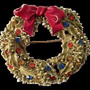 ART Signed Gold Tone Christmas Wreath