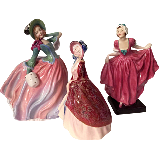 Three Royal Doulton Lady Figurines, Autumn Breeze, Paisley Shawl and Delight 1952-56