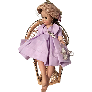 Madame Alexander Doll Cissette wearing tagged Lavender Dress with Bolero jacket