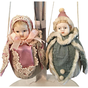 French/German Antique Bisque Head Doll Ornaments