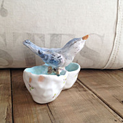 Wonderful Figural Bluebird Salt and Pepper Dish by Julie Whitmore