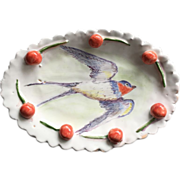 Sweet Hand Painted Oval Pottery Dish by Julie Whitmore Bluebird, Cherries