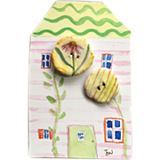 Wonderful French Faience Style Pottery Buttons by Julie Whitmore Daisy Flower, Stripes