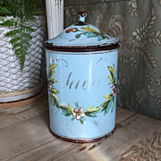Antique French Handpainted Floral Enamelware Canister Raised Flowers, Leaves
