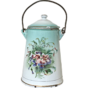 Wonderful Antique French Floral Enamelware Milk Carrier Wildflowers