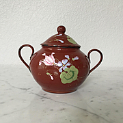 Charming Antique French Enamelware Sugar Bowl Handpainted Cyclamen Flowers
