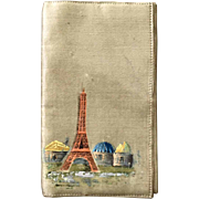 Wonderful Old French Silk Eiffel Tower, Swallow Bird Souvenir Card Holder