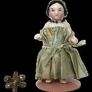 Beautiful Antique Pink Tint All Original Frozen Charlotte China Dollhouse Doll