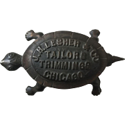 Great Antique Cast Iron Advertising Match Holder Turtle