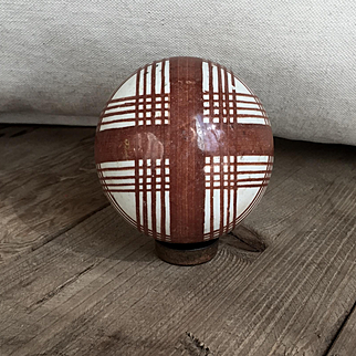 Great Antique Solid Pottery Striped Carpet Bowling Ball