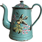 Beautiful Antique French Floral Coffee Pot Little Yellow Bird