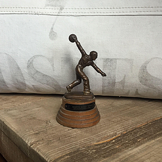 Charming Vintage 1948 Metal and Wood Bowling Trophy