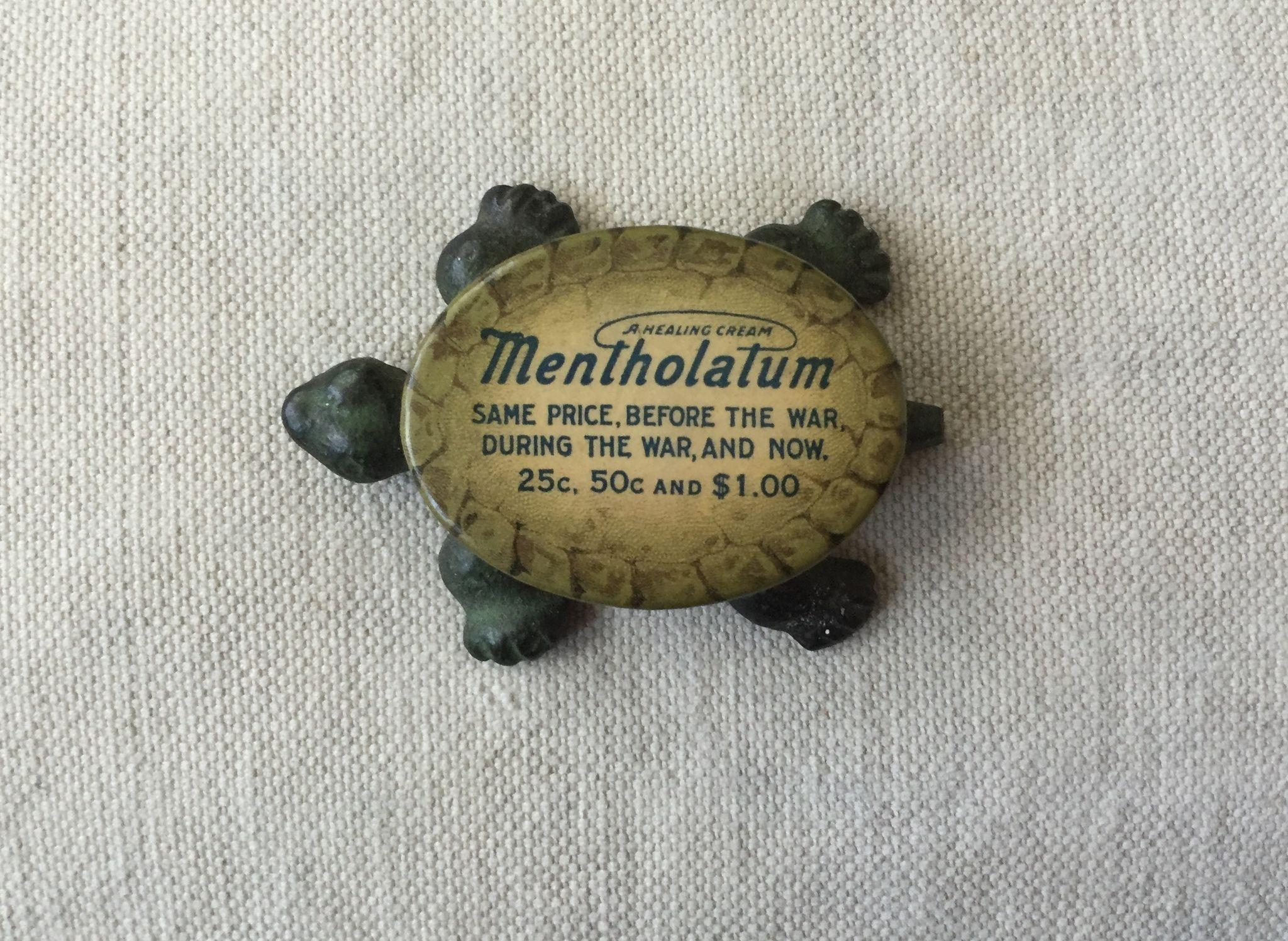 "Great Antique Cast Iron and Celluloid Advertising Turtle Paperweight ""Mentholatum"""