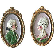 Rare Old Waverly Studios Cast Iron Lady and Gentleman Curtain Tie Backs