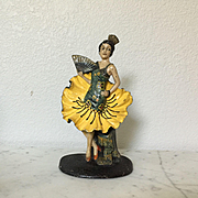 Rare Waverly Studios Spanish Girl with Fan Cast Iron Doorstop