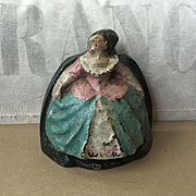 "Charming Rare Old ""Lady in Hoop Skirt"" Cast Iron Doorstop"