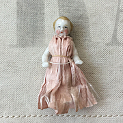 Very Sweet Antique Frozen Charlotte China Doll in Original Silk Dress