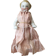 Very Sweet Antique Frozen Charlotte China Doll in Original Silk Dress