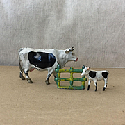 Charming Vintage Britains Lead Cows by the Farmyard Fence