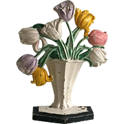 ON HOLD FOR MARIANNE Beautiful Vintage 1940 Hubley Cast Iron Tulip Flower Bouquet Doorstop