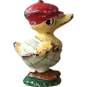 Wonderful Vintage Hubley Cast Iron Duck Dressed For Golf Paperweight