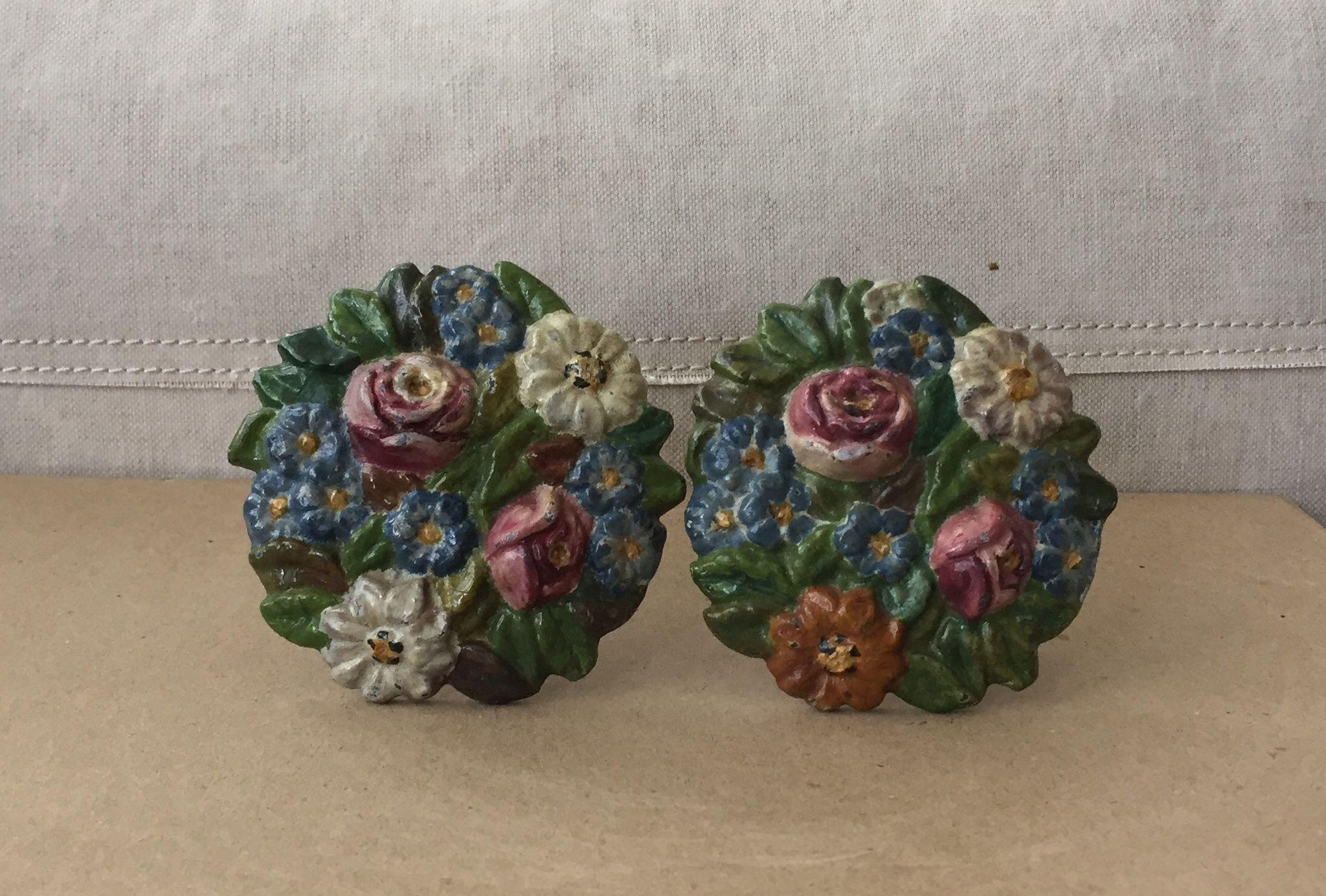 Charming Old Cast Iron Floral Curtain Tiebacks Roses, Daisies, Forget-Me-Nots
