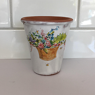 Wonderful French Faience Style Terra Cotta Pot by Julie Whitmore Basket of Flowers