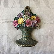 Beautiful 1926 Waverly Studios Cast Iron Basket of Sweet Pea Flowers Doorstop