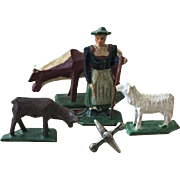 Wondeful Vintage Miniature Putz Wood Set Woman Farmer with Her Animals