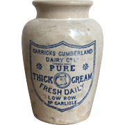 Wonderful Antique Stoneware Thick Cream Crock CARRICKS CUMBERLAND DAIRY
