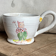 Large Hand Painted French Faience Style Pottery Mug by Julie Whitmore Pig Farmer