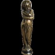 Wonderful Old Figural Child Bronze Wax Seal Heart Stamp