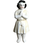 Beautiful Rare Antique Frozen Charlotte China Doll Molded Gown,  Headband