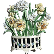 "Charming Vintage Cast Iron Hubley ""Narcissus in Three Footed Pot"" Flower Basket Doorstop"