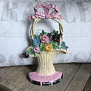 Wonderful 1930 Hubley French Basket Flower Cast Iron Doorstop Original Decal