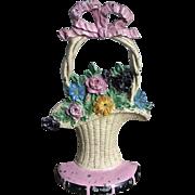 Wonderful 1930 Hubley French Basket Flower Cast Iron Doorstop Original Decal