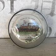 Great Antique Glass Bubble Souvenir Paperweight, Dice Roller Lake Erie Steamship