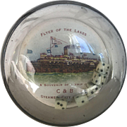 Great Antique Glass Bubble Souvenir Paperweight, Dice Roller Lake Erie Steamship