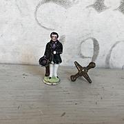 Charming Antique Miniature German Porcelain Dollhouse Handsome Gentleman Figurine