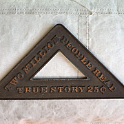 "Great Old Cast Iron Newspaper Newsstand Advertising Paperweight ""TRUE STORY"""