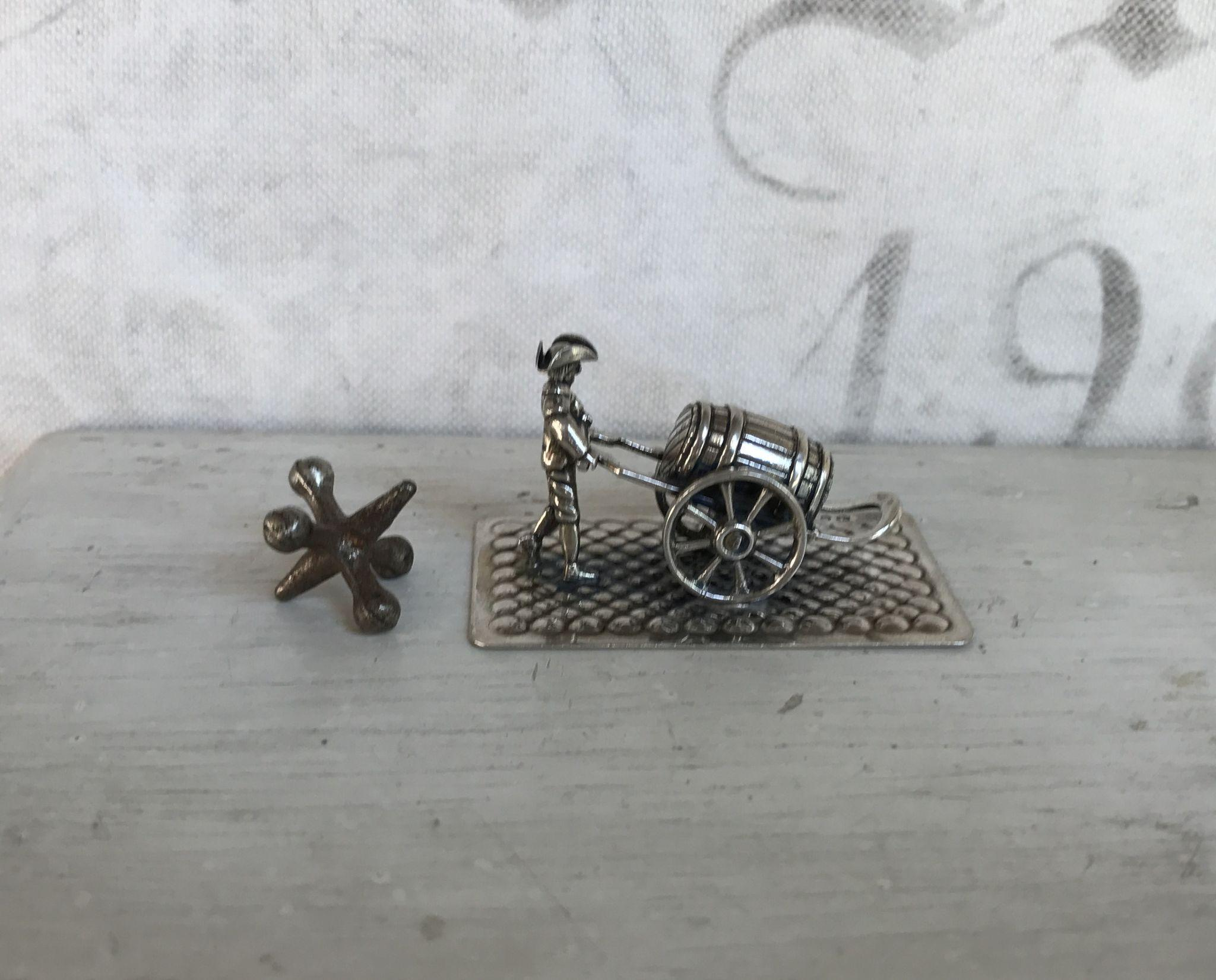 Wonderful Antique Dutch Sliver Miniature Man with Barrel, Cart