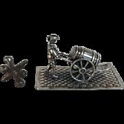 Wonderful Antique Dutch Sliver Miniature Man with Barrel, Cart