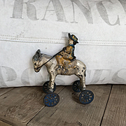 Charming Antique Cast Iron Horse on Wheels Children's Toy